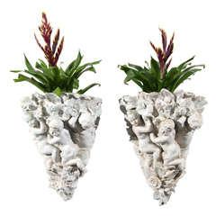 Pair of Italian Porcelain Putti Wall Appliques Jardinieres