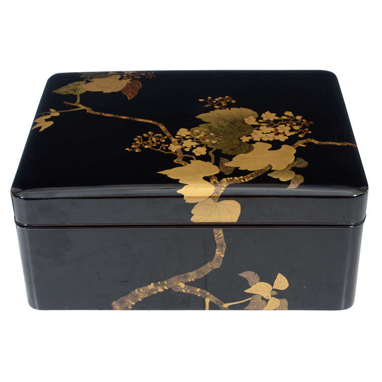 Antique Japanese Lacquer Black Box with Grapes