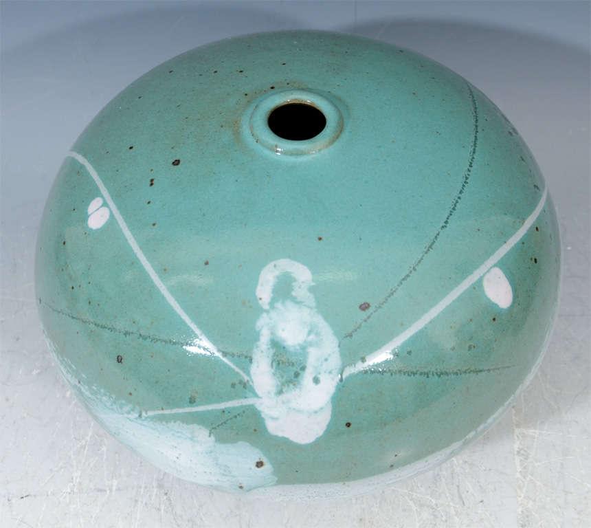 Mid Century Japanese Studio Ceramic Vase For Sale 1