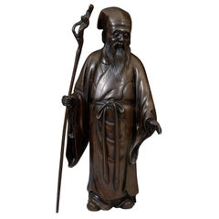 Antique Meiji Period Japanese Bronze of an Old Man (Jerodian)