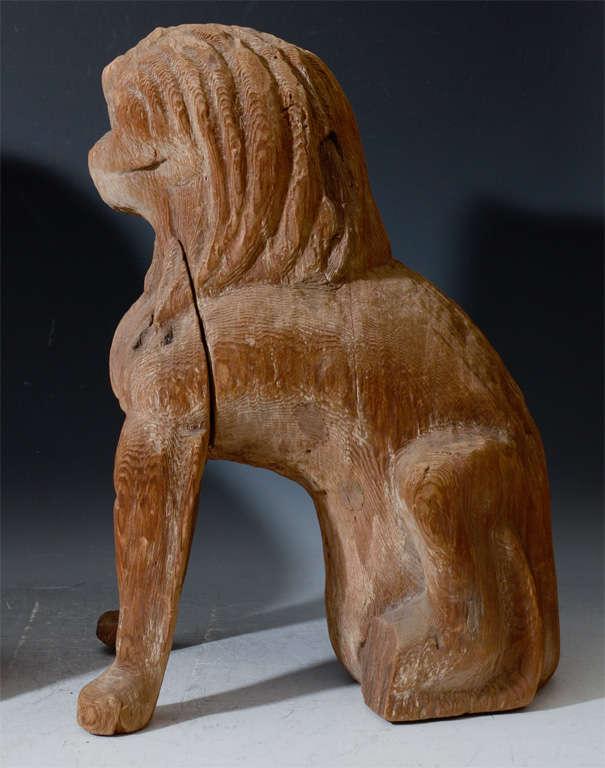 Pair of Antique Japanese Wooden Temple Lion Figures For Sale 2
