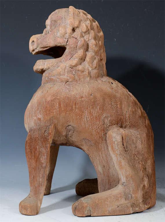 Pair of Antique Japanese Wooden Temple Lion Figures For Sale 3