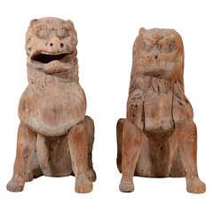 Pair of Antique Japanese Wooden Temple Lion Figures