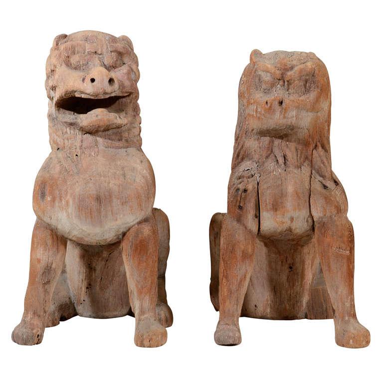 Pair of Antique Japanese Wooden Temple Lion Figures For Sale