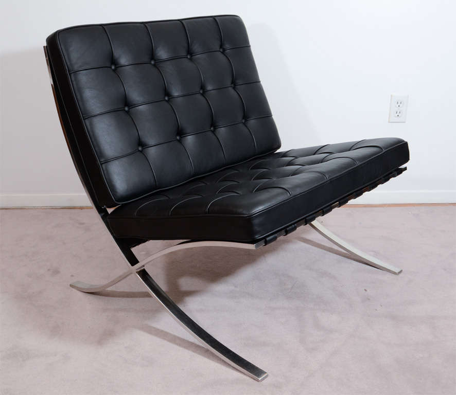 this pair of mid century knoll barcelona chairs by van der rohe i