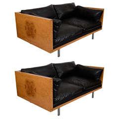 Pair of Mid Century Milo Baughman Leather and Burlwood Sofas