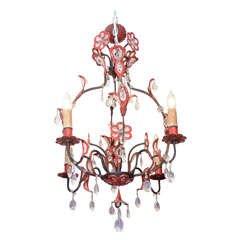 Mid Century Glass and Enameled Metal Chandelier in Black and Red