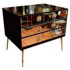 Mid Century Three-Drawer Mirror-Front Dresser