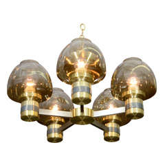 Lightolier Two-Tone Brass Chandelier