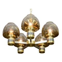 Lightolier Two-Tone Brass Chandelier