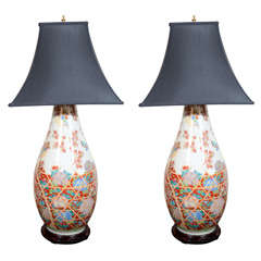 Two Japanese Imari Palace Vases Adapted as Lamps