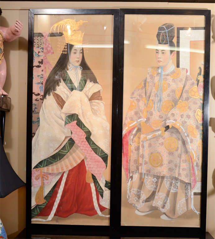 A pair of framed elaborate Japanese paintings of an emperor and empress by Nakayama Sanji. Each figure is richly adorned in colorful, flowing robes. Shown at Chicago World's Fair in 1893.  4827