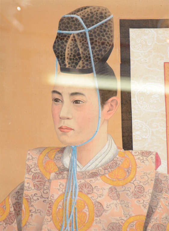 Meiji Pair of Japanese Emperor and Empress Framed Paintings For Sale