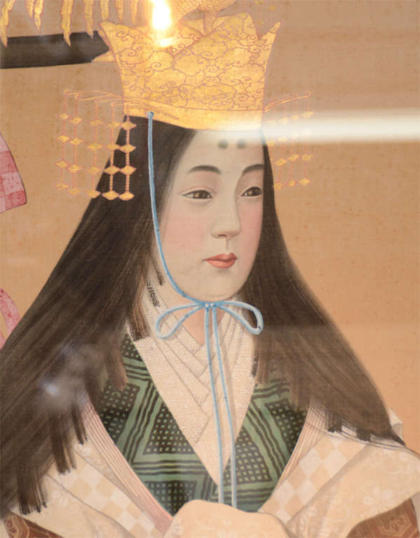 Pair of Japanese Emperor and Empress Framed Paintings In Good Condition For Sale In New York, NY