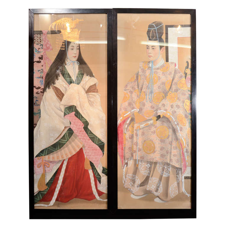 Pair of Japanese Emperor and Empress Framed Paintings For Sale