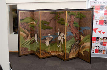 Antique Japanese Edo Period Six Panel Folding Screen with Cranes image 2