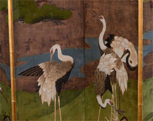Antique Japanese Edo Period Six Panel Folding Screen with Cranes image 3
