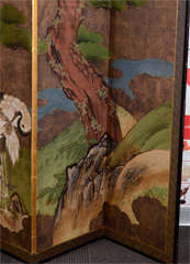 Antique Japanese Edo Period Six Panel Folding Screen with Cranes image 4