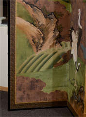 Antique Japanese Edo Period Six Panel Folding Screen with Cranes image 5