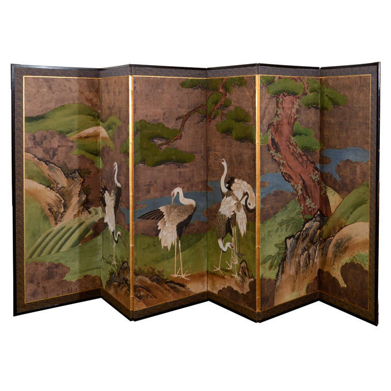 Antique Japanese Edo Period Six Panel Folding Screen with Cranes