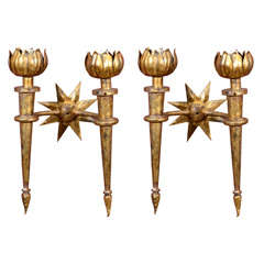 A Pair of Gilded Iron Sconces after Gilbert Poillerat