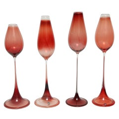 Nils Landberg Red Tulpanglas, Orrefors Glassworks, 1957