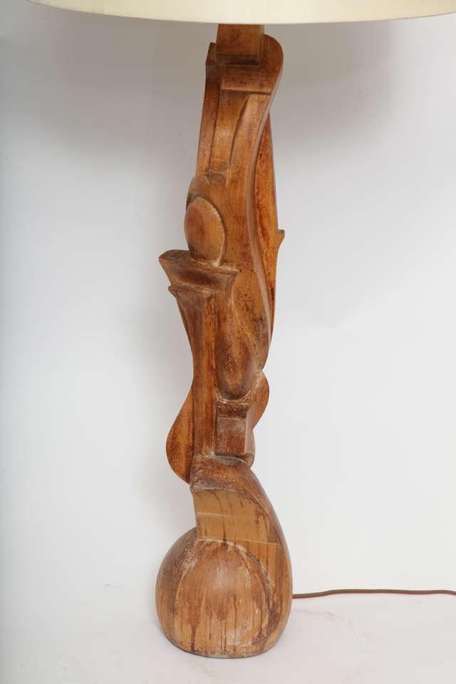 Mid-Century Modern 1940s Italian Futurist Hand-Carved Wood Table Lamp For Sale