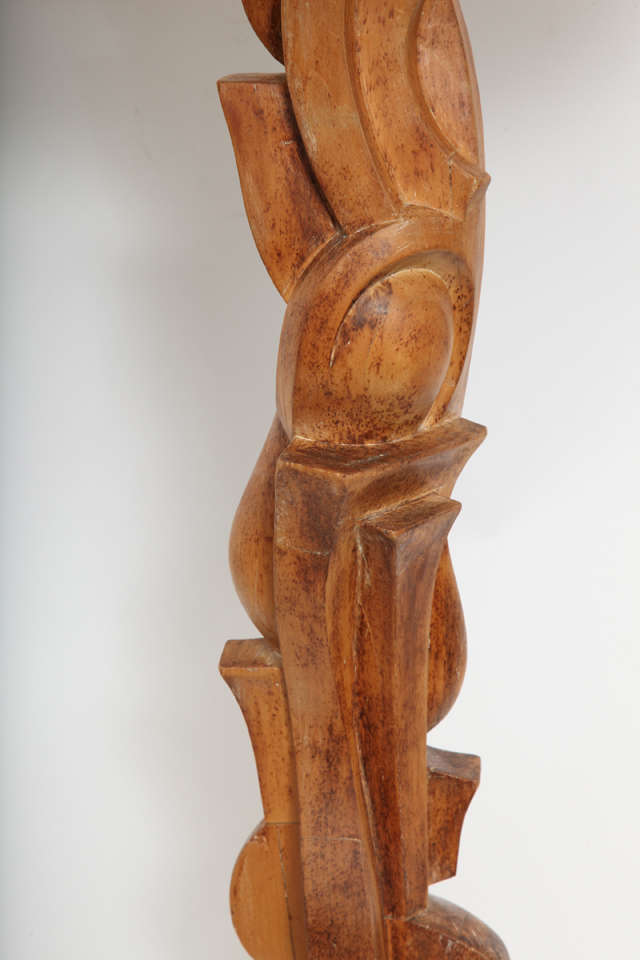 1940s Italian Futurist Hand-Carved Wood Table Lamp For Sale 2