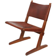 1950s American Modernist Wood and Leather Architectural Chair