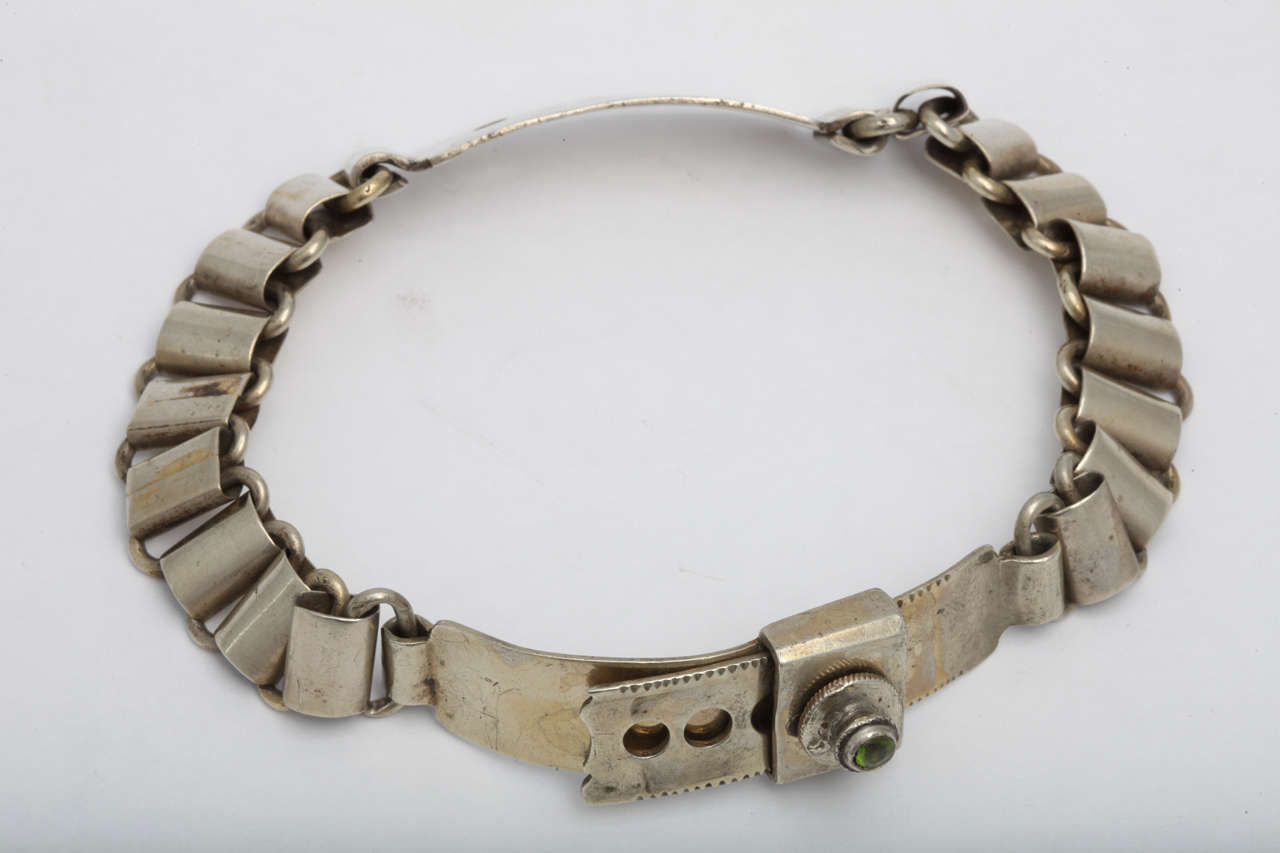 French 19th Century Silver Plated Dog Collar 2