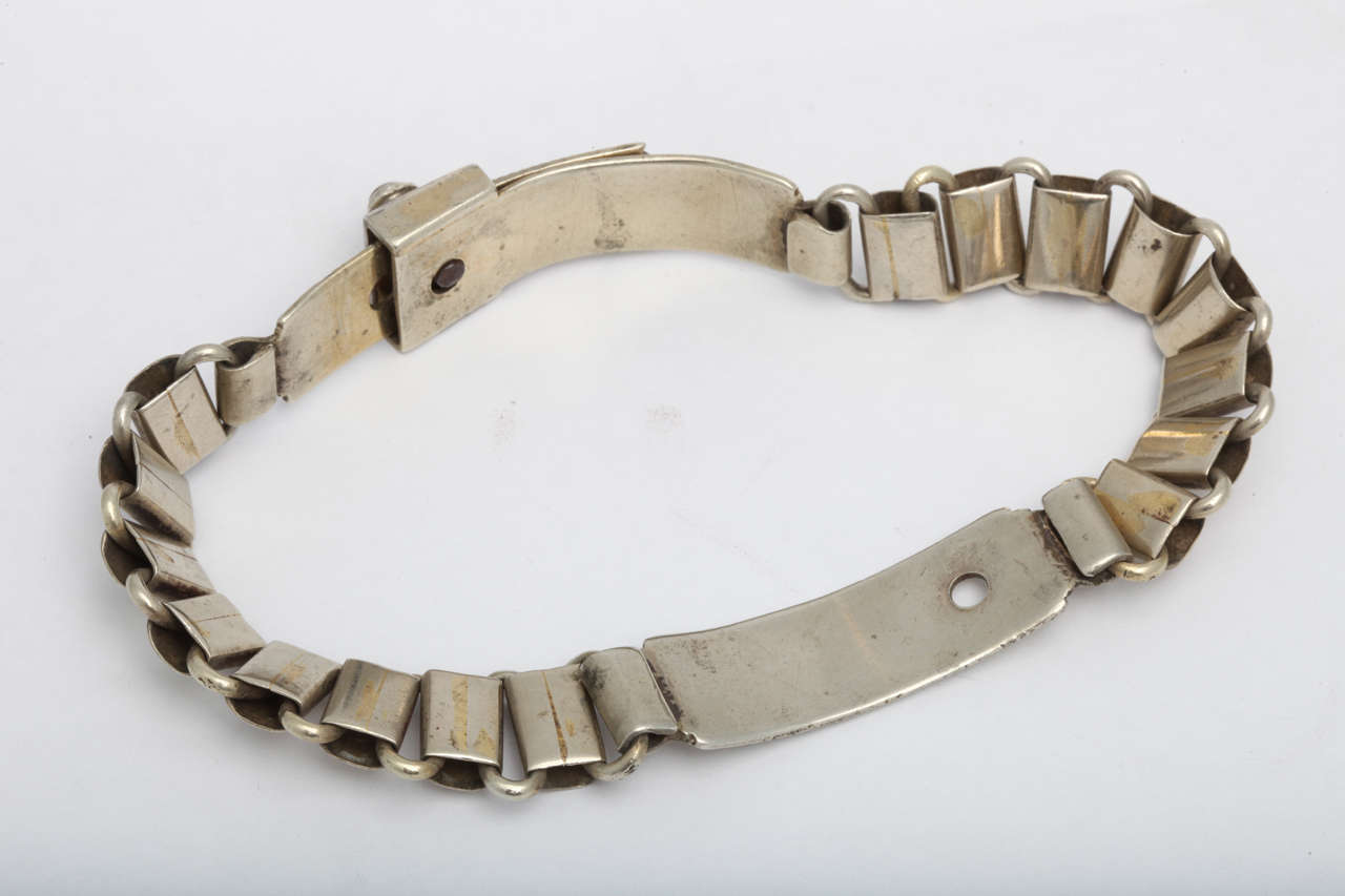 French 19th Century Silver Plated Dog Collar 5