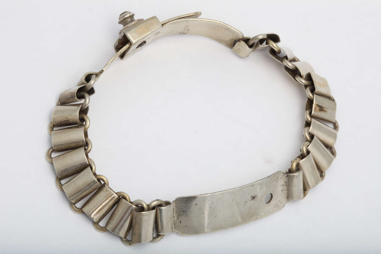 French 19th Century Silver Plated Dog Collar 6
