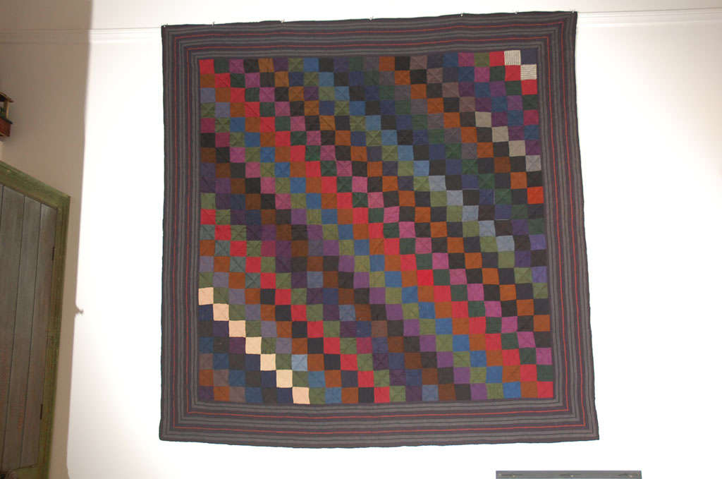American Rare Pennsylvania  Amish Wool  One Patch Quilt For Sale