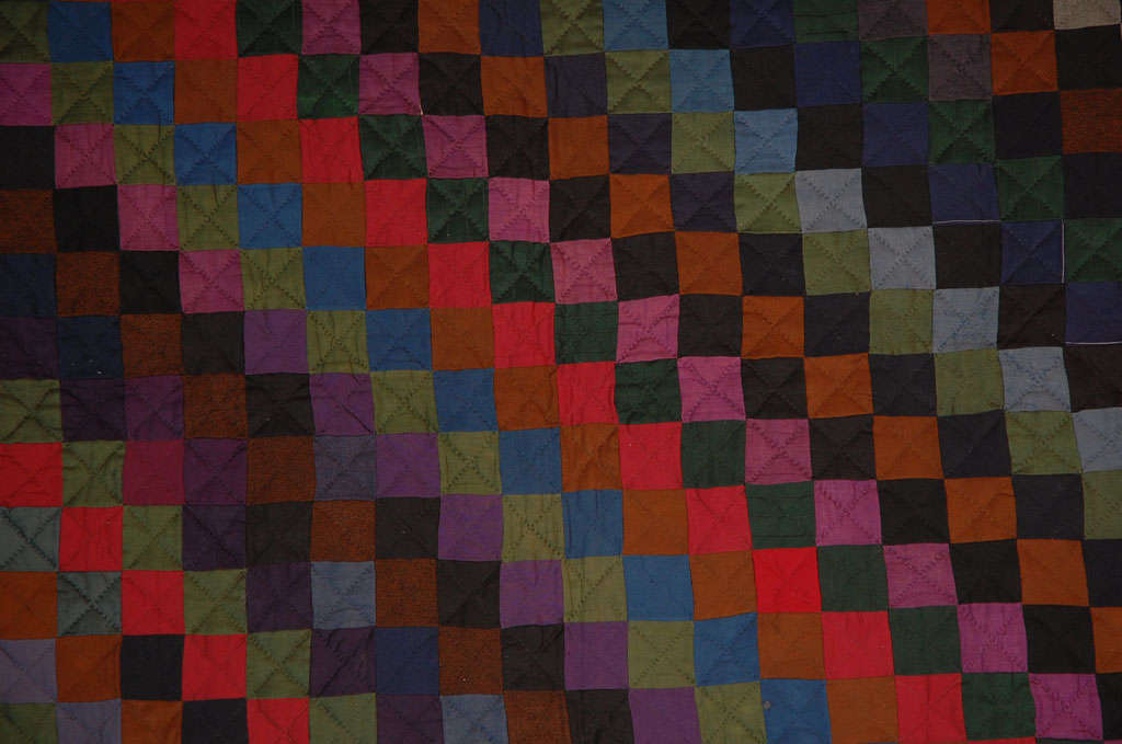 Rare Pennsylvania  Amish Wool  One Patch Quilt For Sale 1
