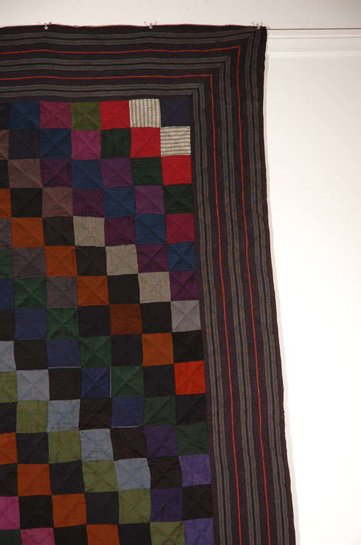 Rare Pennsylvania  Amish Wool  One Patch Quilt For Sale 2