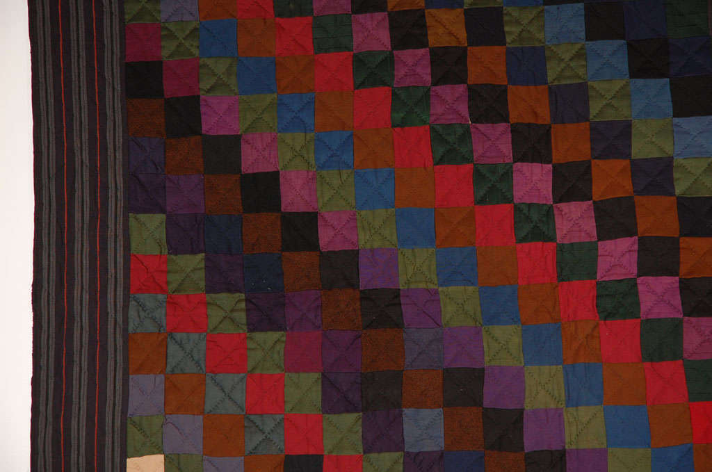 Rare Pennsylvania  Amish Wool  One Patch Quilt For Sale 3
