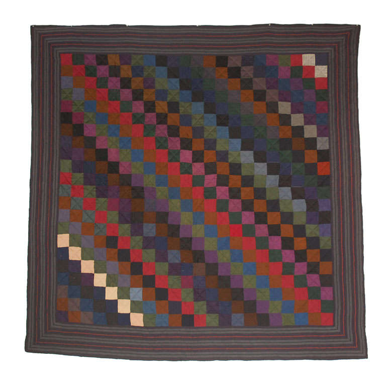 Rare Pennsylvania  Amish Wool  One Patch Quilt For Sale