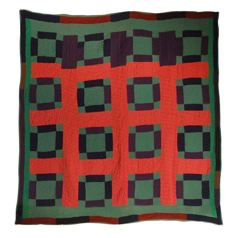 Early 20th Century Amish Nine Patch Wool Quilt from Pennsylvania