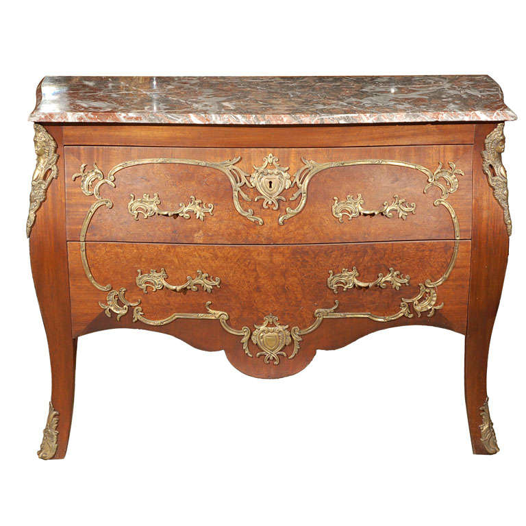 louis xv style bombe commode at 1stdibs. Black Bedroom Furniture Sets. Home Design Ideas