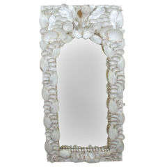 1940s Syrie Maugham Style Real Chalk White Seashell Mirror