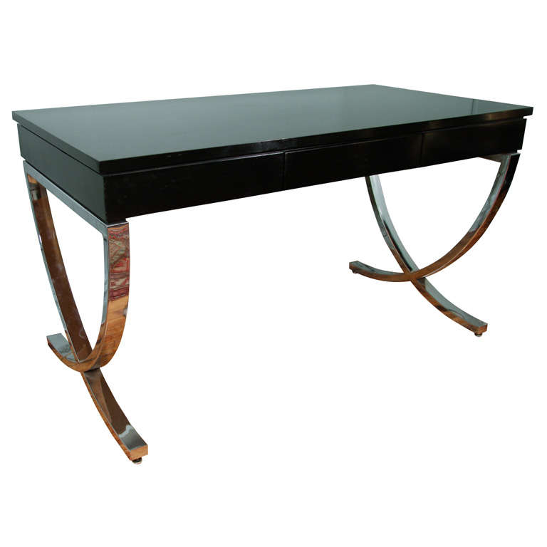 Mid Century Style Black Writing Desk With Curved Chrome X Base For