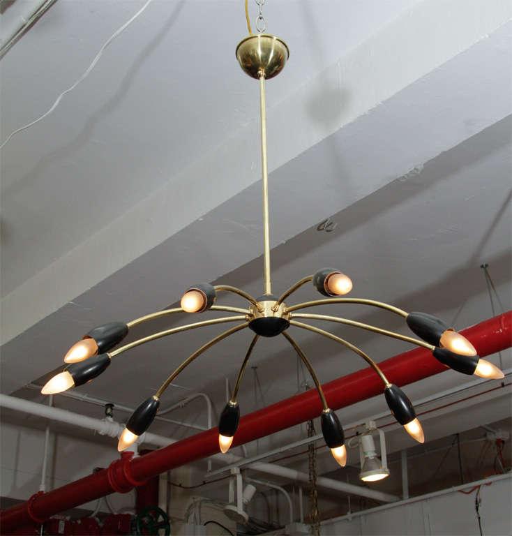 Mid Century 10-arm Stilnovo Style Spider Chandelier 3