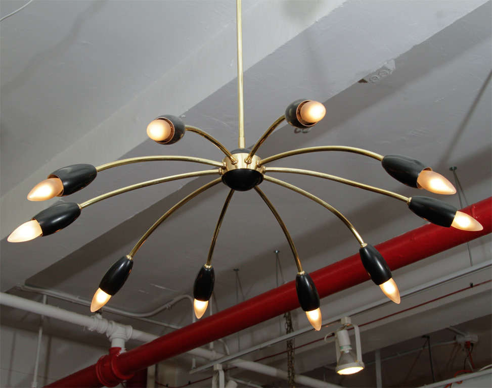 Mid Century 10-arm Stilnovo Style Spider Chandelier 5