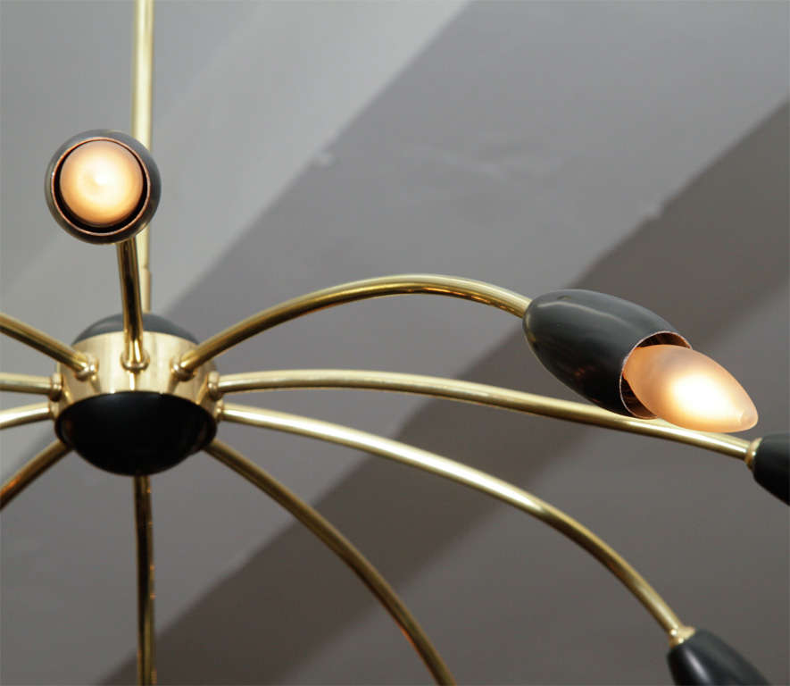 Mid Century 10-arm Stilnovo Style Spider Chandelier 8