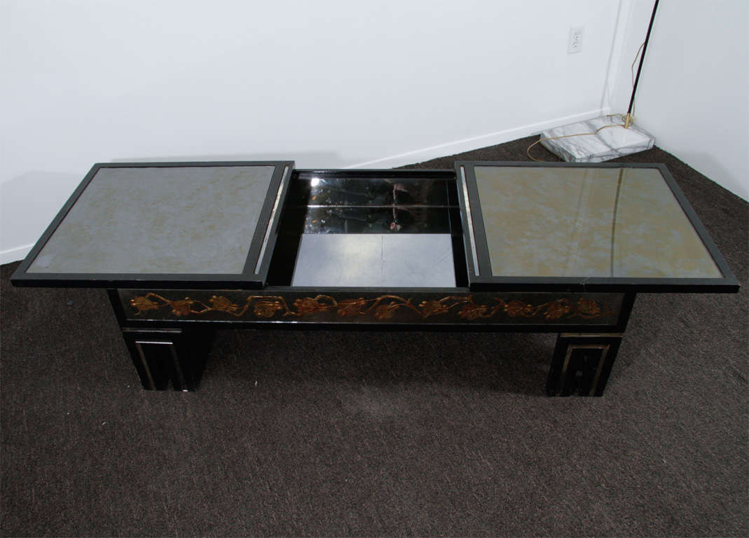 James Mont Eglomise Mirrored Coffee Table W Hidden