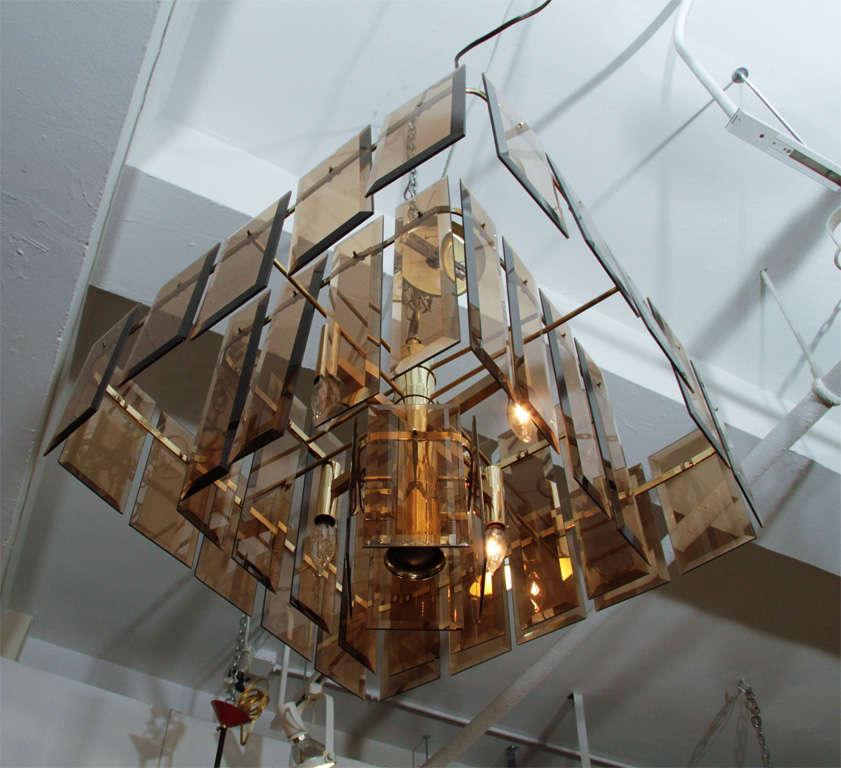 20th Century Mid Century Amber Glass and Brass Chandelier For Sale