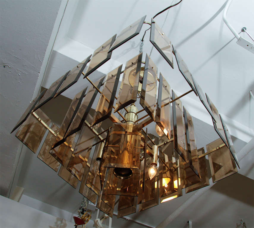 Mid Century Amber Glass and Brass Chandelier For Sale 1