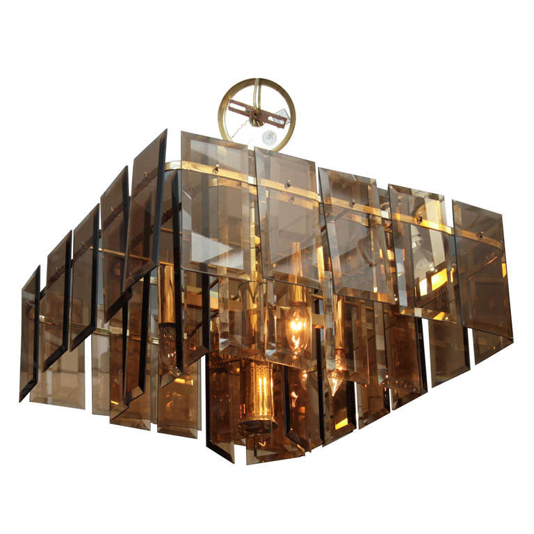 Mid Century Amber Glass and Brass Chandelier For Sale
