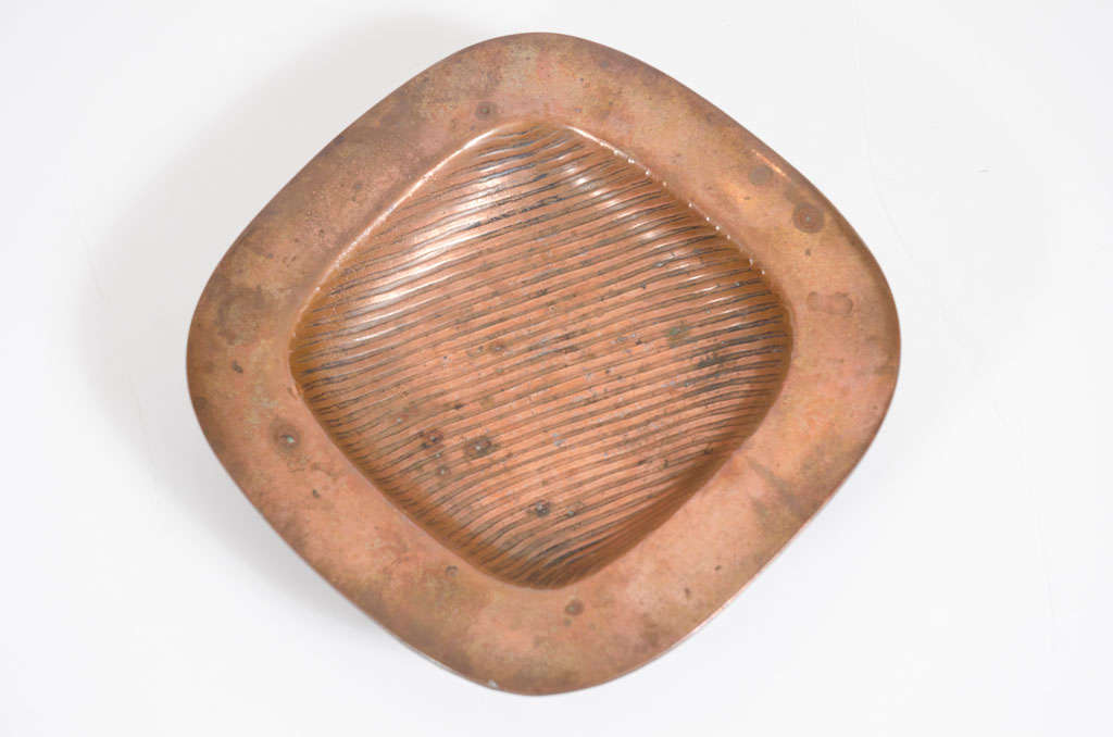 Grooved Copper Coin Dish by Ben Seibel for Jenfredware For Sale 4