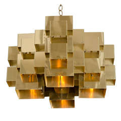 Polished Brass Cubist Chandelier by Curtis Jere, Signed